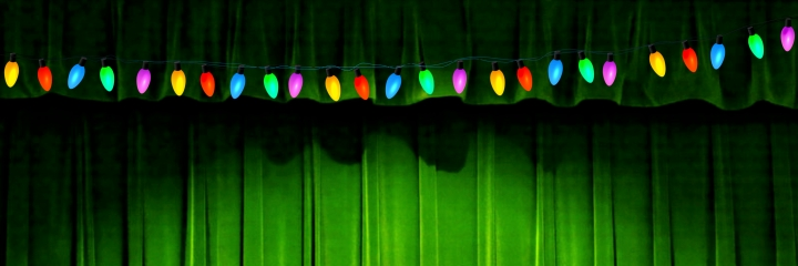green room curtains and lights